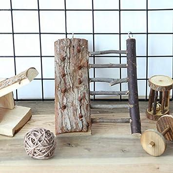 CHW Accesorios para mascotas Pequeña mascota Pájaro Hámster Loro Ardilla Puente Escalera Escalera Escaleras Juguete Decoración - Color madera,madera color: Amazon.es: Bricolaje y herramientas
