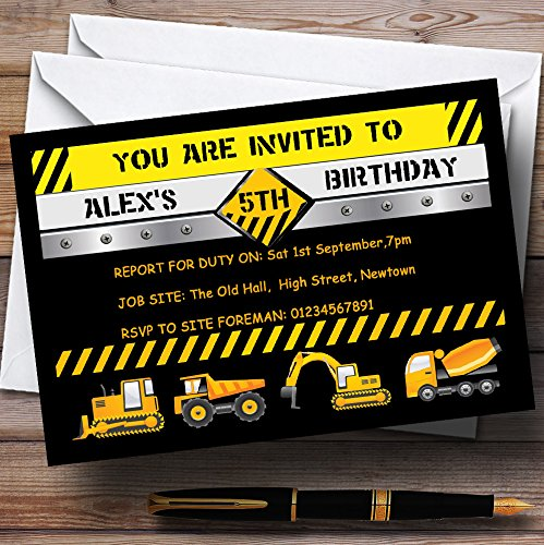 Digger Jcb Construction Builder Theme Personalized Birthday Party Invitations