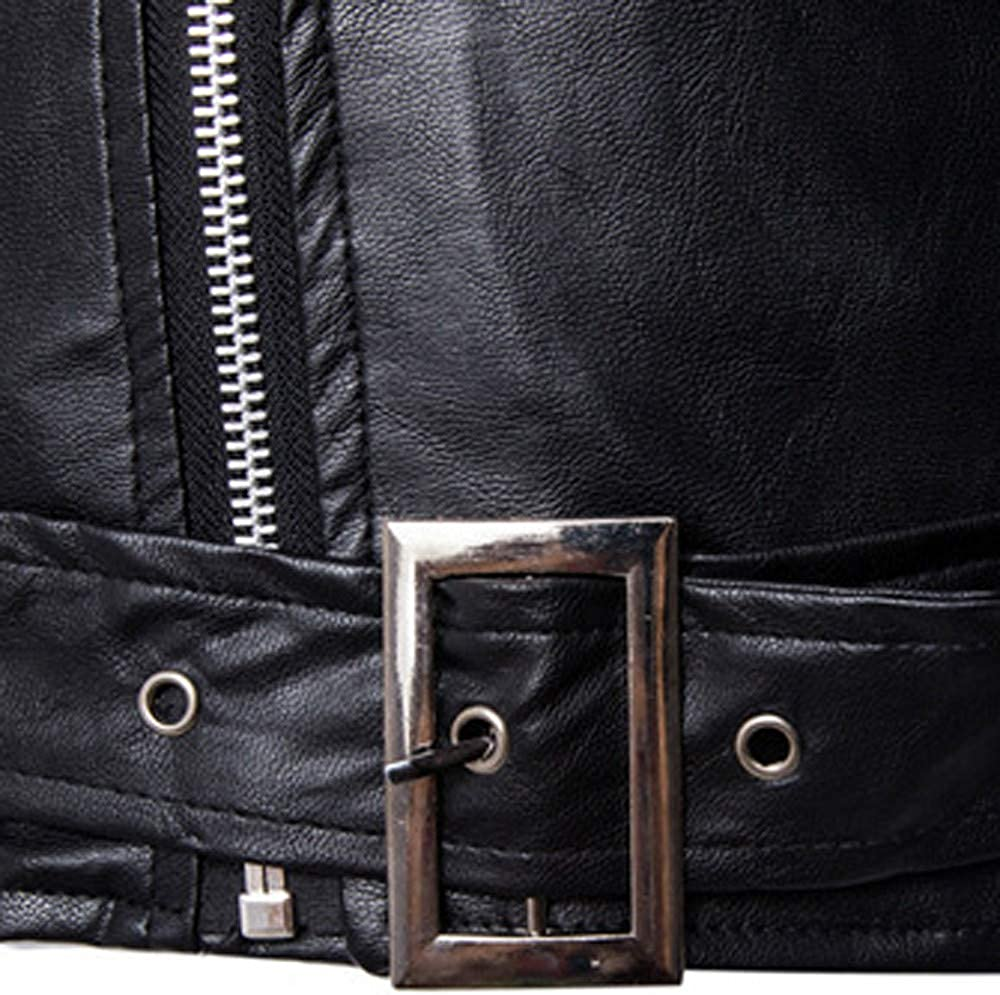 ThePass Fashion Mens Warm Leather Jacket Cool Motorcycle Pocket Zipper Coat