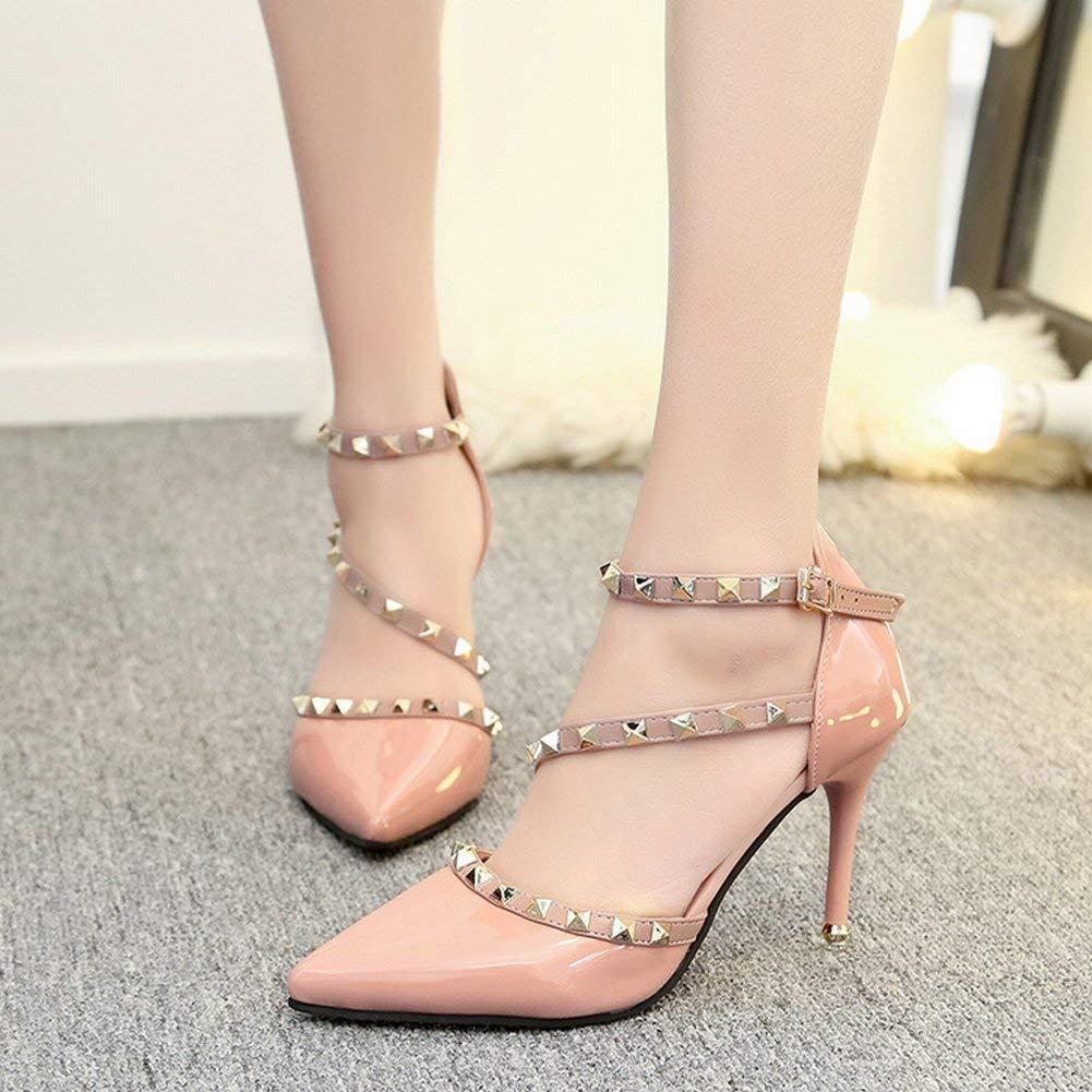 Oudan Temperament Gemischte Farbe Lackleder Niete Schuhe Knöchelriemen Schnalle Sexy Spitzen Fein mit High Heels Hohlen Schuhe (Farbe   Blass Rosa grau Größe   39)