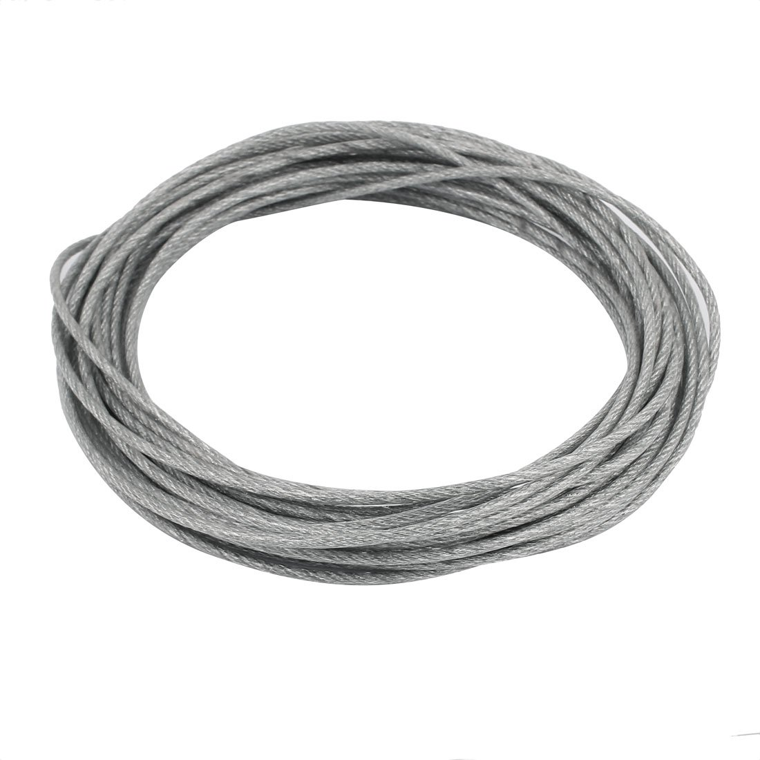 uxcell 10M Length 3mm Diameter Plastic Coated Flexible Steel Wire Cable Rope Silver Tone