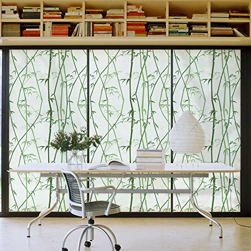 Dktie Bamboo Decorative Window Cling Film Designs Vinyl No Glue Privacy Film, Static Cling Stained Glass Window Film for Bathroom,Door Film 17.7In.By 78.7In, (Bamboo Window)