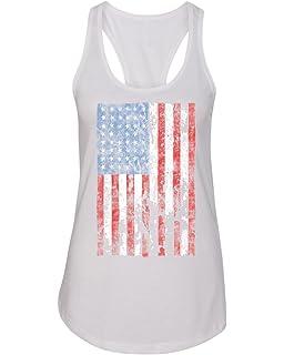 9d8880ba16a4c2 Distressed American Flag USA Patriotic Clothing Womens Racerback Tank Top