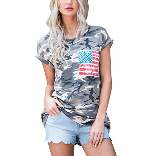 Winwintom Mujeres Camiseta camuflaje de manga corta con bolsillo blusa tops