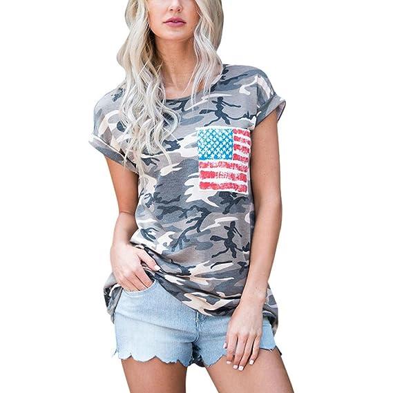 Winwintom Mujeres Camiseta camuflaje de manga corta con bolsillo blusa tops (S)