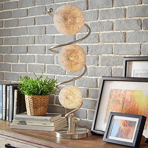 (Modern Satin Nickel Spiral Table Lamp with 3 Wire Wrapped Spheres - Includes Modhaus Living Pen)