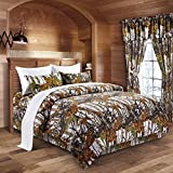 The Woods White Camouflage Queen 8pc Premium Luxury Comforter, Sheet, Pillowcases, and Bed Skirt Set by Regal Comfort Camo Bedding Set For Hunters Cabin or Rustic Lodge Teens Boys and Girls