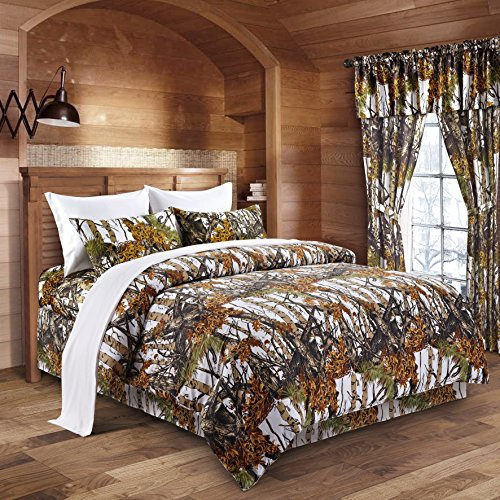 Regal Comfort The Woods White Camouflage King 8pc Premium Luxury Comforter, Sheet, Pillowcases, and Bed Skirt Set Camo Bedding Set for Hunters Cabin or Rustic Lodge Teens Boys and Girls -