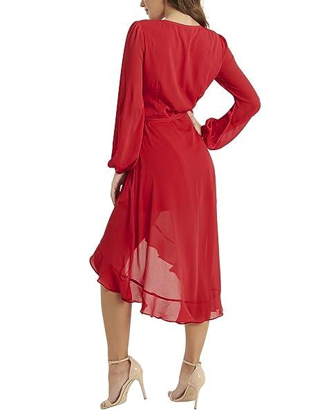 Lipsy Mujer Vestido Cruzado A Media Pierna Con Volantes Rojo Eu 32 (Uk 4): Amazon.es: Ropa y accesorios