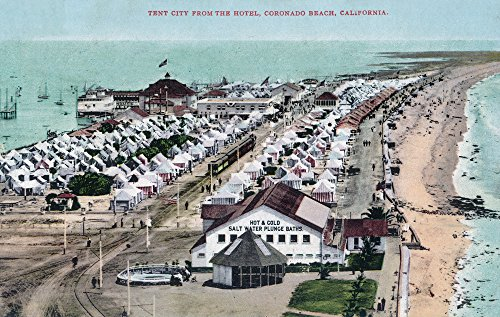 - Coronado Beach, California - Tent City View from Hotel del Coronado (16x24 SIGNED Print Master Giclee Print w/ Certificate of Authenticity - Wall Decor Travel Poster)