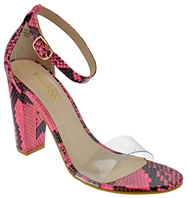da07e6035c BAMBOO Mania 30 Womens Chunky Heel Single Band Platform Dress Sandals Neon  Pink Snake 5.5
