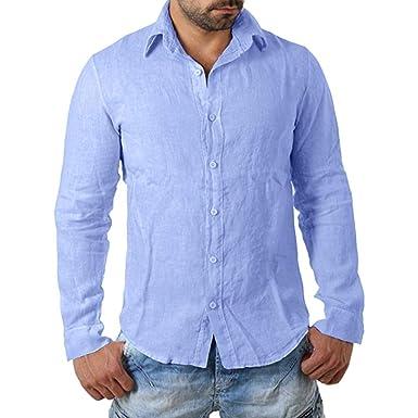 c5e748edd22 Sagton Fashion Mens Basic Solid T-Shirt Business Casual Long Sleeve Button  Top Autumn Winter