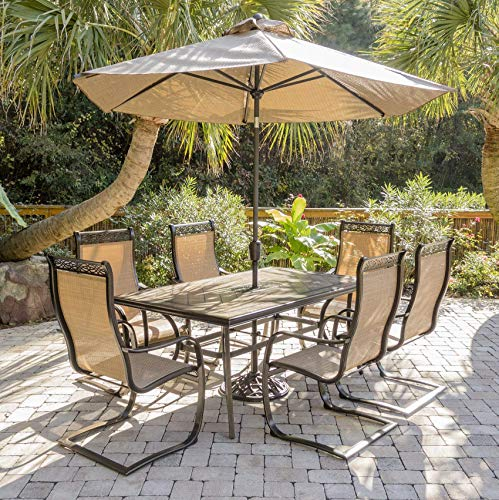 Hanover MONDN7PCSP-SU Monaco 7 Piece Set with 6 C-Spring Chairs, a Tile-top Dining Table, 9' Umbrella and Stand Outdoor Furniture, Tan