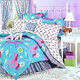 Girls Turquoise Blue & Pink PONY HORSE Comforter Set W/Sheets (Bed in a Bag) (QUEEN SIZE)
