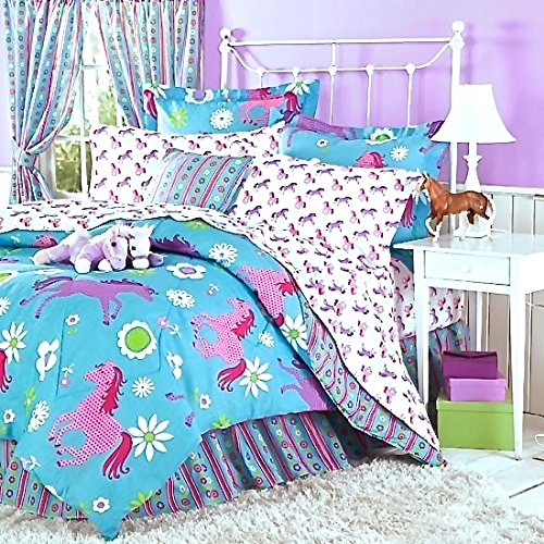 Girls Turquoise Blue & Pink PONY HORSE Comforter Set W/Sheets (Bed in a Bag) (TWIN (Twin Horse Comforter)