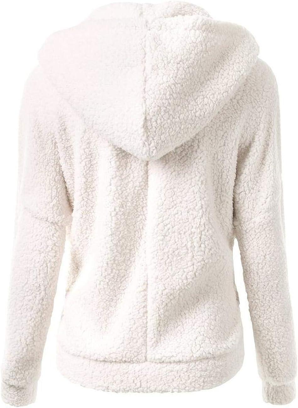 WBHMVMZ Kapuzenpullover Langarm-Pullover Reißverschluss Strickjacke Herbst und Winter einfarbig Outdoor-Freizeit Weiß