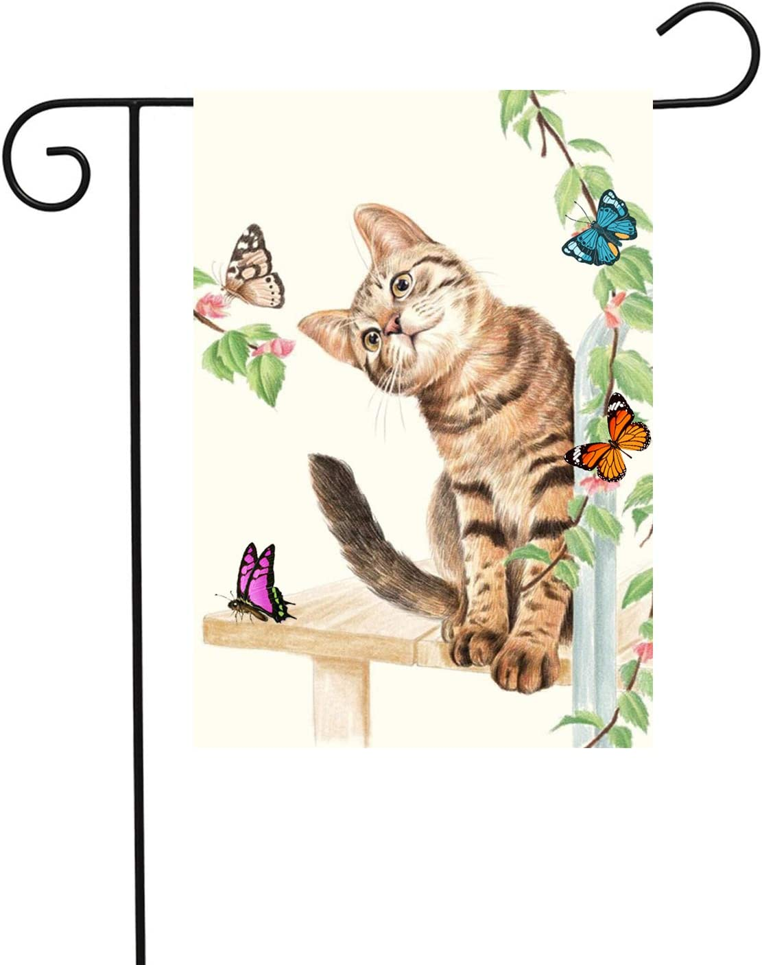 PANHUI Home Garden Flag Welcome Cute Cat & Butterfly for Spring Summer,House Decorative Seasonal Outdoor Yard Lawn Double Sided Flag 12 x 18 Inch