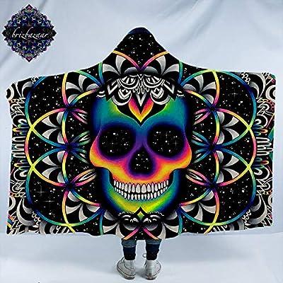 Chaos by Brizbazaar Skull Hooded Blanket Bohemian Neon Skull Wearable Sherpa Cozy Blanket Galaxy Fleece Blanket for Boys Men (Adults 60
