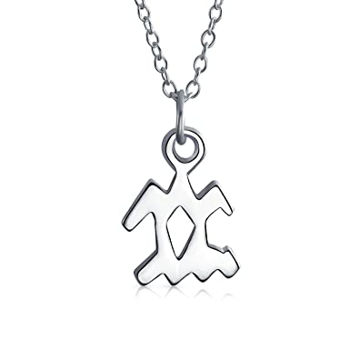 Chain Included 925 Sterling Silver Aquarius Zodiac Sign Pendant Necklace