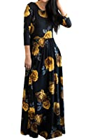 MITILLY Women's Floral Print 3/4 Sleeve Pockets Casual Swing Pleated Long Maxi Dress