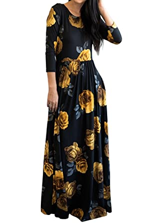 6ff54e06864 MITILLY Women s Floral Print 3 4 Sleeve Pockets Casual Swing Pleated Long  Maxi Dress Small