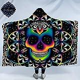 """Chaos by Brizbazaar Skull Hooded Blanket Bohemian Neon Skull Wearable Sherpa Cozy Blanket Galaxy Fleece Blanket for Boys Men (Adults 60""""x 80"""")"""