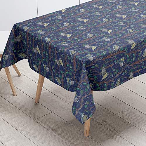Bleu Nuit 130 x 190 cm Izabela Peters de Luxe Designer Toile Cirée PVC Nappe Entrecravaten Facile Matin Refrain - Bleu Nuit, 130 x 190 cm