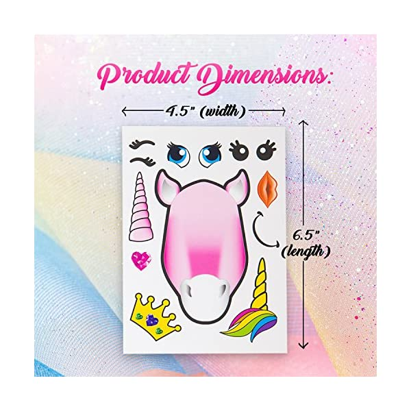 24 Make A Unicorn Stickers For Kids - Great Unicorn Theme Birthday Party Favors - Fun Craft Project For Children 3+ - Let Your Kids Get Creative & Design Their Favorite Unicorn Stickers 5