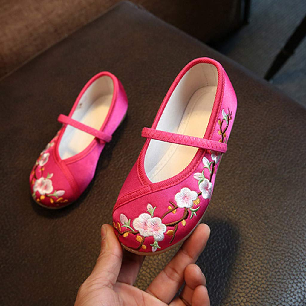 Perman Kids Baby Girl Embroidery Flower Ethnic Style Cloth Shoes,Casual Solid Color Sandals Single Shoes