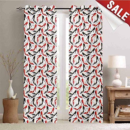 - Hengshu Red and Black Decorative Curtains for Living Room Women Fashion Pattern with High Heel Stiletto Shoes Ladies Footwear Waterproof Window Curtain W72 x L108 Inch Scarlet Black Beige
