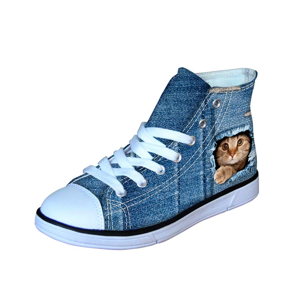 Denim Animal Print Personalized Lightweight High Top Canvas Shoes Classic Sneakers Lace up Flats
