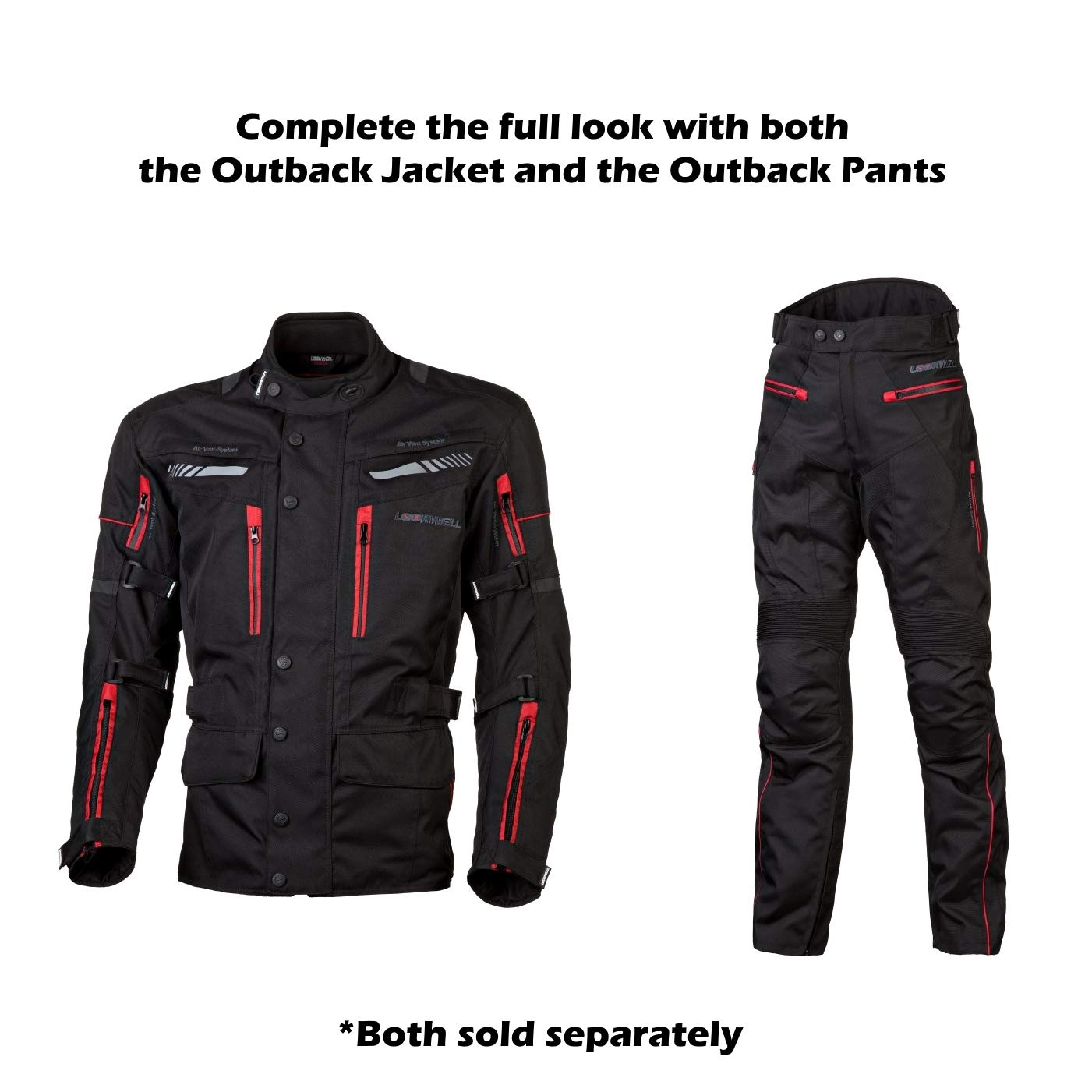 Size L Sizes XS-6XL Black//Red Lookwell Outback Textile Jacket Motorcycle and Motorbike Touring Armoured CE-Approved Protection