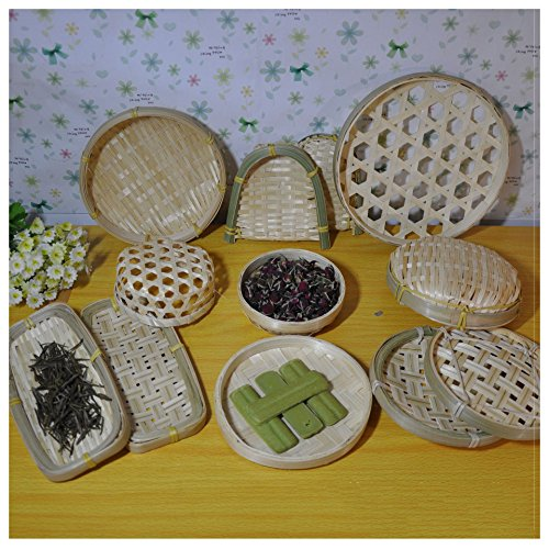 Beautiful Cute Bamboo Material 100% Handwoven Artcraft Wicker Basket Food Storage Woven Tray Vegetable Fruit Utensil Organizer Holder Bowl Decorative Rack Steaming Photo Props Display (No.9) from Timesfriend
