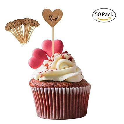 50pcs Kraft Paper I Do Cupcake Topper Food Picks Wedding Cake Centerpieces