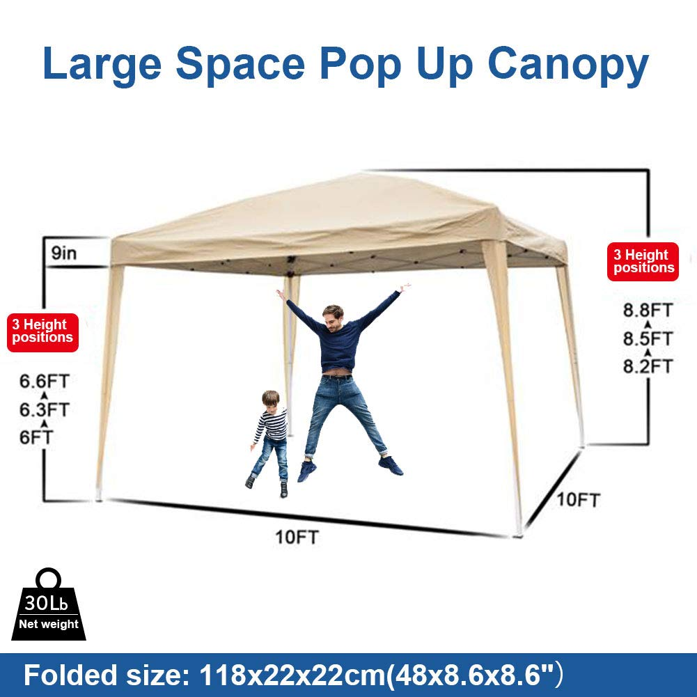 MTFY Outdoor Pop Up Canopy Tent, Portable Gazebo Canopy Tent for Party Wedding Commercial Camping Waterproof, UV Protection Shelter, Removable Sidewalls Khaki 10x10ft