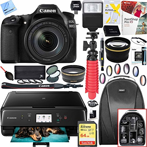 Canon EOS 80D 24.2 MP CMOS Digital SLR Camera with EF-S 18-135mm f/3.5-5.6 IS USM Lens and Canon PIXMA TS6120 Wireless All-in-One Compact Printer with Scanner & Copier (Black) 64GB (Canon Extender Set)