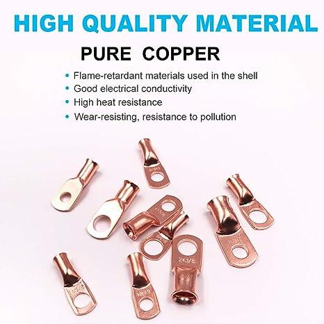 60Pcs cable ends lugs copper ring terminals wire connectors solder kit MC /_wr
