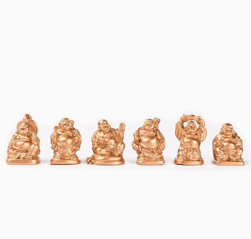 Brass Statu 1'' Gold Laughing Buddha Figurines Collection Gift Set of 6 (Mini Gold)