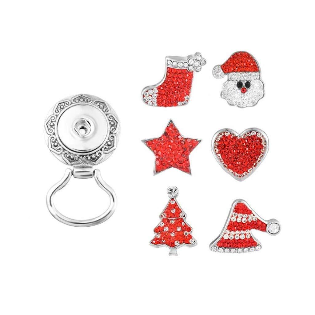 MJartoria Christmas Interchangeable Snap Buttons Centerpiece Rhinestone Eye Glass Holding Magnetic Brooch (Christmas 6)
