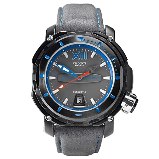 Visconti Abyssus 1000 SW51-02 - Reloj de Buceo automático para Hombre con Correa de Piel Gris Nabuk: Amazon.es: Relojes