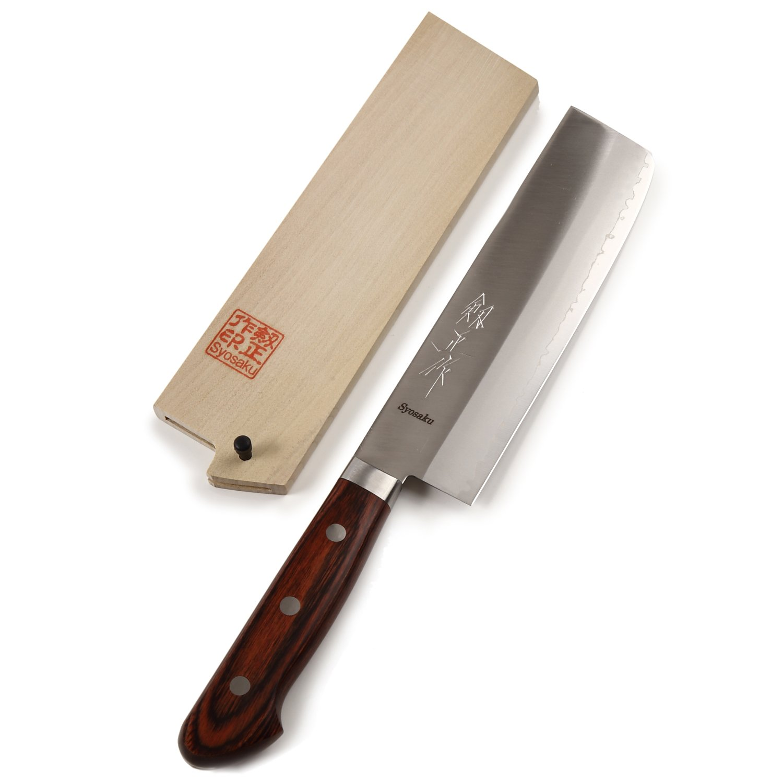 Syosaku Japan Vegetable Knife VG-1 Gold Stainless Steel Mahogany Handle, Nakiri 6.3-inch (160mm) with Magnoila Wood Saya Cover