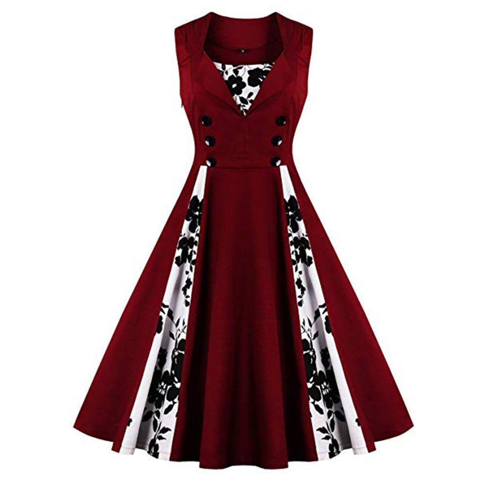 d9cddd736f ... Dresses KILOLONE Womens 1950 Plus Size Dress Christmas Party Retro  Vintage Dress Rockabilly Pinup Cocktail Swing Dresses.   