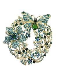 Ever Faith Austrian Crystal Butterfly Flower Wreath Brooch Pin
