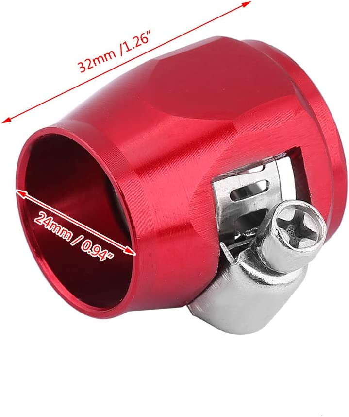 AN4 Red Car Oil Fuel Hose End Clamp Finisher Water Line Hose End Clip Hose Connectors Hose Finisher