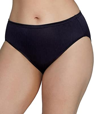 13de3fe5ccde Vanity Fair Women's Plus Size Illumination Hi Cut Panty, Midnight Black, 2X- Large