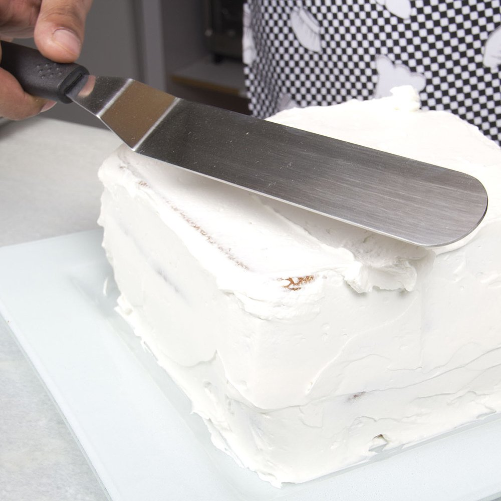 7'' Angled Stainless Steel Offset Icing Spatula with Ergonomic Handle Spreads Frosting Smoothly and Evenly for Commercial-Quality Cake Decorating by Topenca by Topenca Supplies (Image #3)