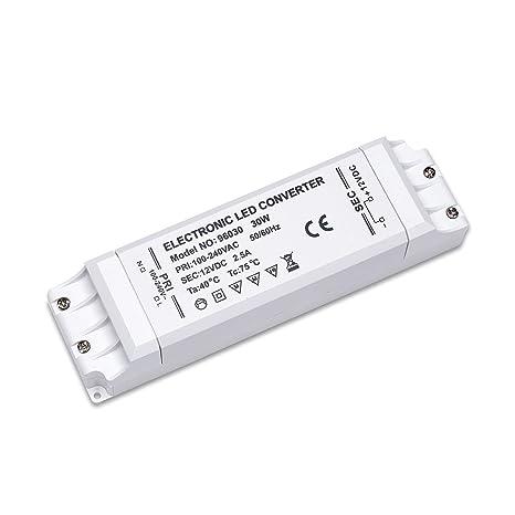 Yafido LED Transformador 220V a 12V Trafo 30W 2.5A LED Driver Fuente de Alimentación para Bajo Voltaje Bombillas G4 MR16 GU5.3 MR11