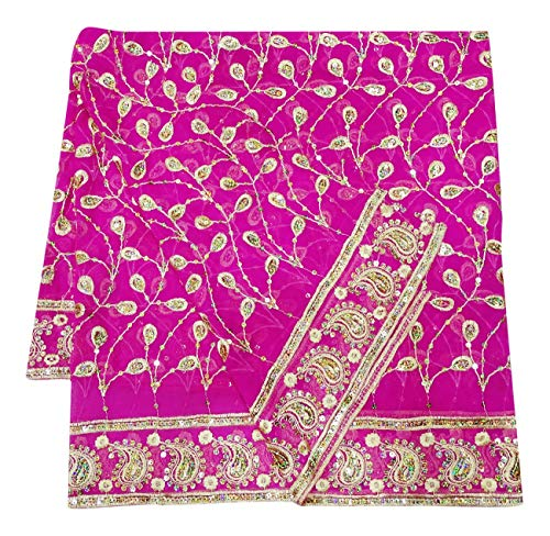 (Women Indian Long Dupatta Magenta Designer Bollywood Stole Embroidered Vintage Ethnic Wrap Georgette DIY Sewing Fabric)