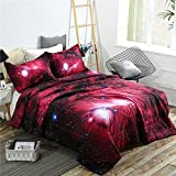 YOUSA Outer Space Bed Quilt Galaxy Down Alternative Comforter Bedding Sets Men/Boys/Girls Duvet Sets (Full/Queen,03)