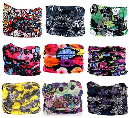 Kingree 9PCS Outdoor Headscarves for ATV/UTV riding, Seamless Bandanas Tube, High Elastic Headband with UV Resistance, Womens and Mens Headband Headwear Headwrap (Offbeat Oriental Blooms)